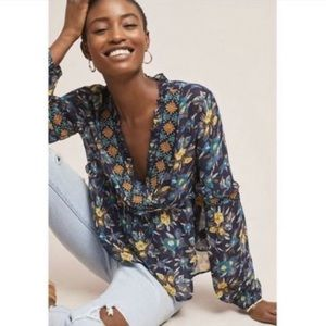 Anthropologie Meadow Rue Strasser Floral Top Small
